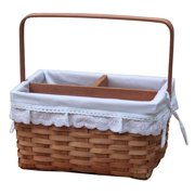 Vintiquewise Woodchip Picnic Caddy Basket Lined with Lace Trim