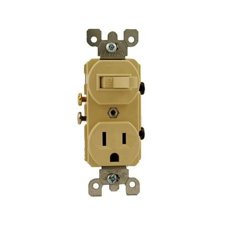 Leviton 5225 15 Amp, 120 Volt, Duplex Style Combination Single Pole Switch/Receptacle, Grounding, Ivory 15 Amp Single Pole