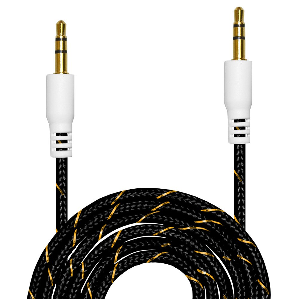 2 Premium 3.5mm Nylon Tangle Free Auxiliary Aux 3 Feet Male to Male Stereo Audio Cable for Headphones, iPods, iPhones, iPads, Home / Car Stereos and More - Black (Pack of 2)