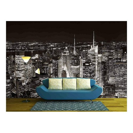 wall26 - New York City Midtown Skyline Panorama with Skyscrapers and Urban Cityscape at Night. - Removable Wall Mural | Self-adhesive Large Wallpaper - 66x96 inches - Windy City Wallpaper