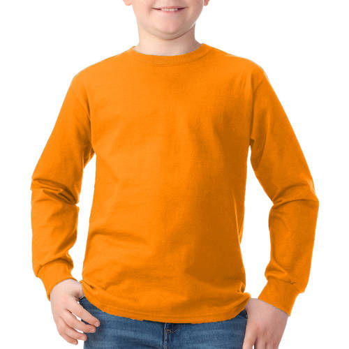 Fruit of the Loom Boys' Long Sleeve Crew T - Shirt with Rib Cuffs