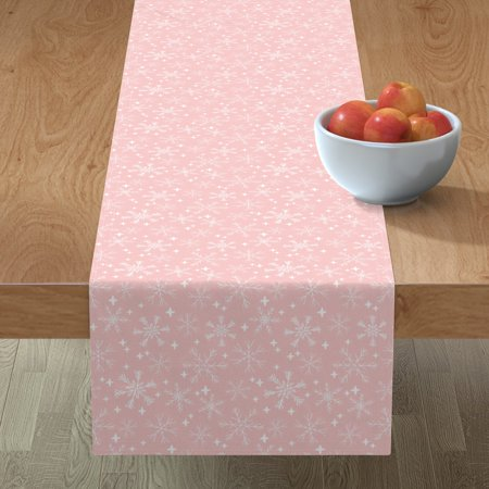 Image of Table Runner Snowflake Snowflakes Pink Christmas Winter Pink Cotton Sateen