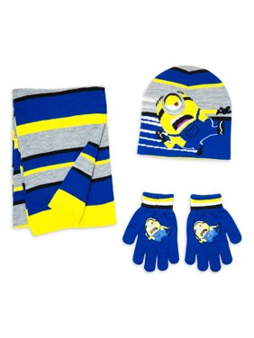 Boy's Minions hat, glove, and scarf set