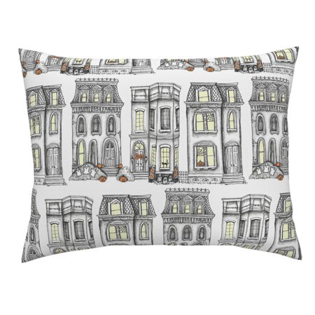 Halloween Houses Vintage Style Black Spooky Pillow Sham by Roostery