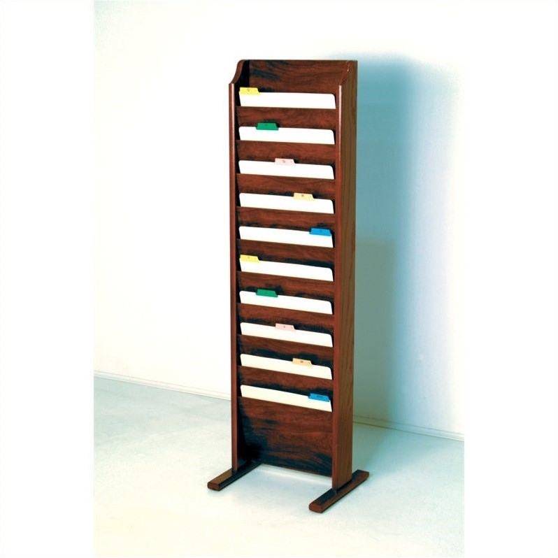 Wooden Mallet Free Standing 10 Pocket Chart Holder in Mahogany - image 1 of 1