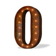 Trekshops Indoor/ Outdoor Commercial Grade Rusted Steel Number '0' Iconic Profession/Commercial MarqueeLight