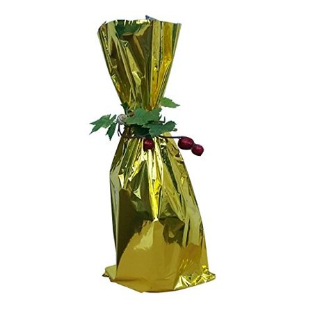 100 / Metallic GOLD Mylar bag - Wine bottle Gift Bags, 6 1/2