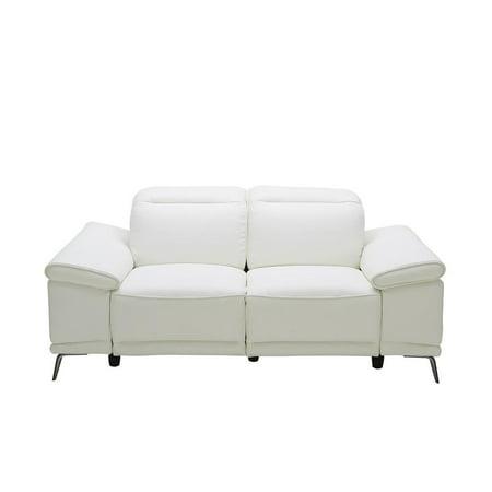 White Italian Premium Leather Recliner Sofa Contemporary J&M Gaia