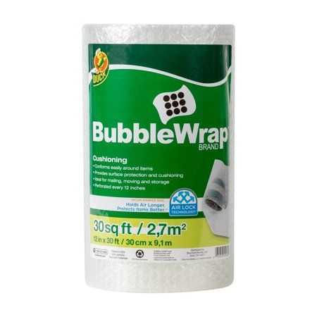 - Duck Original 3/16 inch Bubble Wrap Cushioning, 12 in. x 30 ft., Clear