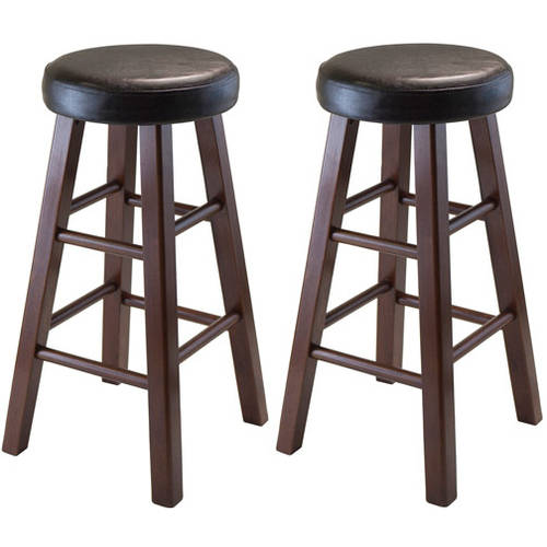 Winsome Wood Marta Cushion Seat Counter Stools, Set of 2, Antique Walnut