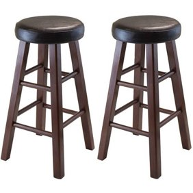 Enjoyable Winsome Wood Pacey 29 Bar Stools Set Of 2 Walnut Ibusinesslaw Wood Chair Design Ideas Ibusinesslaworg