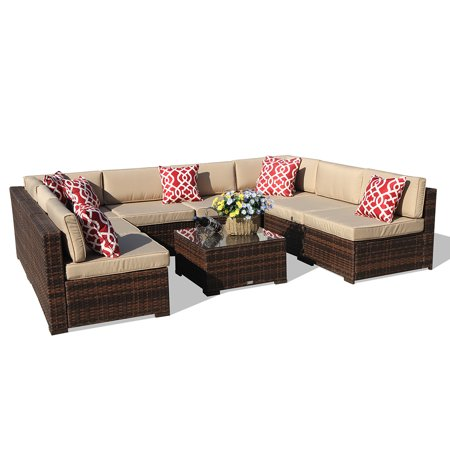 Outdoor Furniture Sectional Sofa Set (9-Piece Set) All-Weather Brown Wicker with Beige  Seat Cushions &Glass Coffee Table| Patio, Backyard, Pool| Steel Frame ()