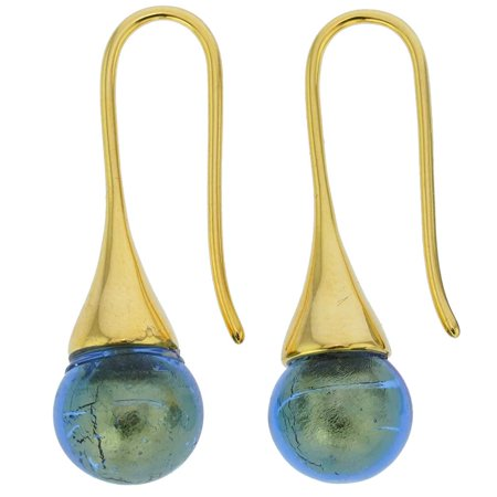 GlassOfVenice Murano Glass Gold Drop Earrings - Royal Blue