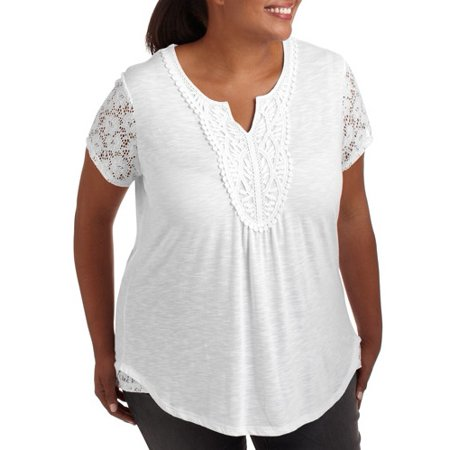 Online Womens Plus Size Crochet Lace Top With Lace Inset