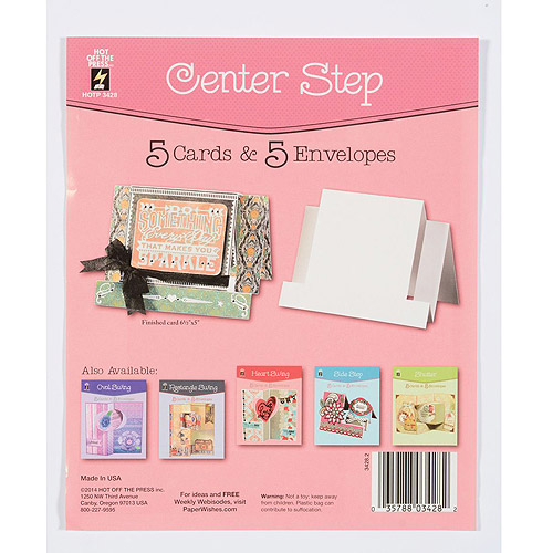 Hot Off The Press Die-Cut Cards with Envelopes, 5pk, Center Step
