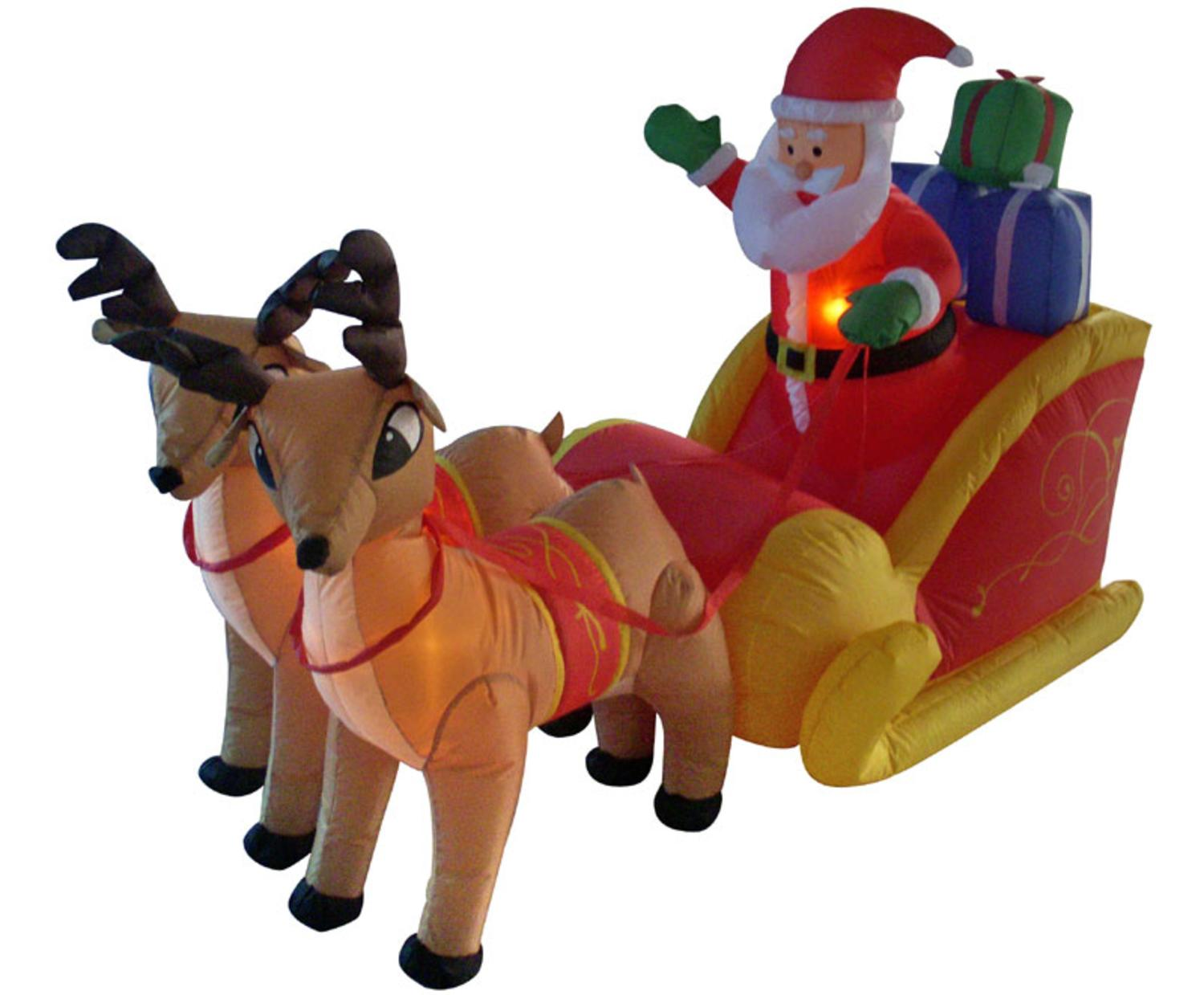4u0027 Inflatable Santa, Sleigh U0026 Reindeer Lighted Christmas Yard Art Decor    Walmart.com