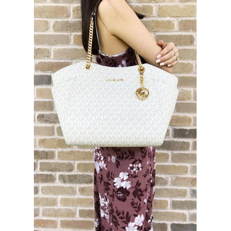 06cd942ff28f Michael Kors Jet Set Travel Large Chain Shoulder Tote Vanilla MK Signature  Acorn - Walmart.com