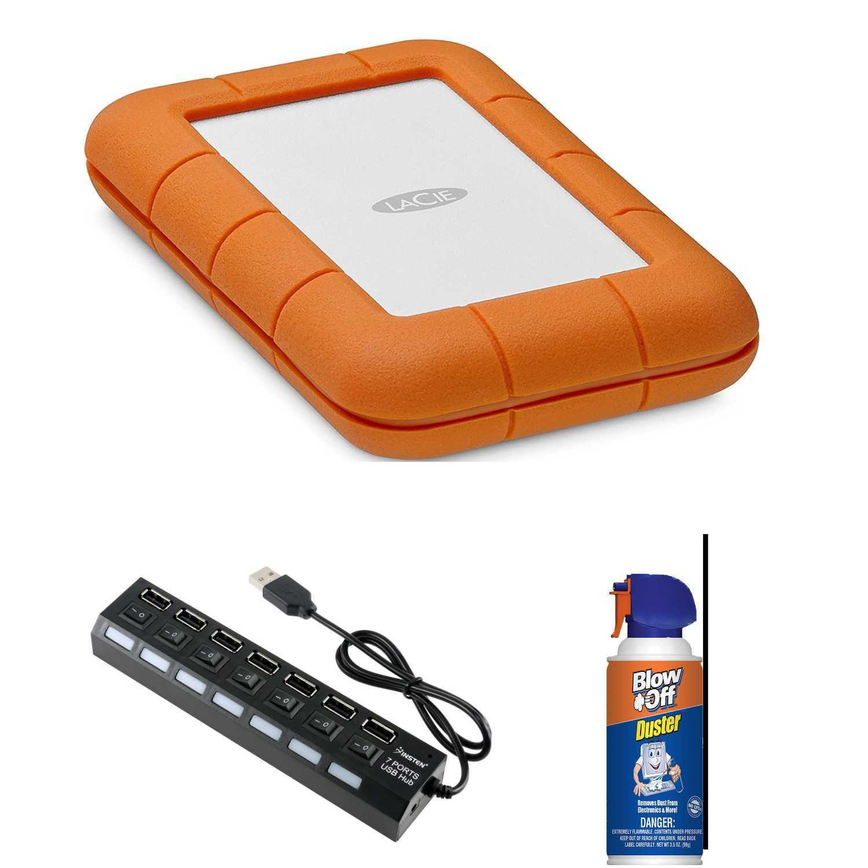 LaCie Rugged Thunderbolt USB-C 1TB Portable Hard Drive with USB 2.0 Hub Bundle