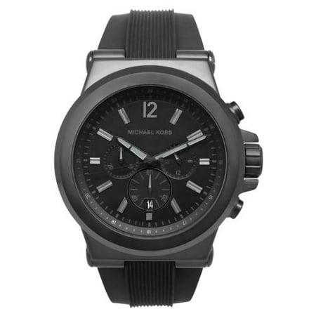 Michael Kors Men's Dylan Chronograph Black Silicone Watch (Michael Kors Black On Black)
