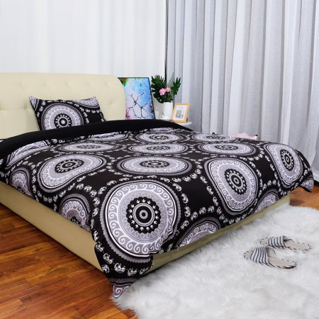 Bohemian Duvet Cover Sets with 1 Matching Pillow Sham Soft Microfiber 2-Piece Boho Mandala Quilt Set (Black,