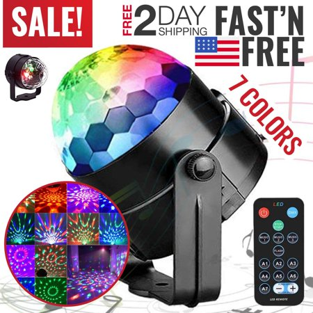 Disco Party Lights (Portworld Disco Ball Party Light 5W RGBWP LED Crystal Rotating Strobe Lamp With Remote Control 7 Color Mini Magic DJ Lighting Sound Activated Club Karaoke Stage Lights Party Supplies )