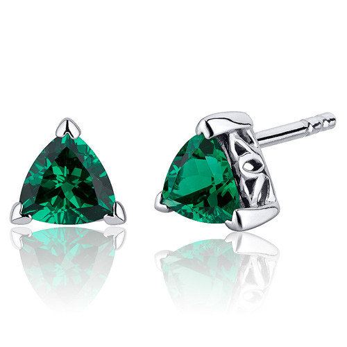 Oravo 1.50 Carats Trillion Cut  Emerald V Prong Stud Earrings