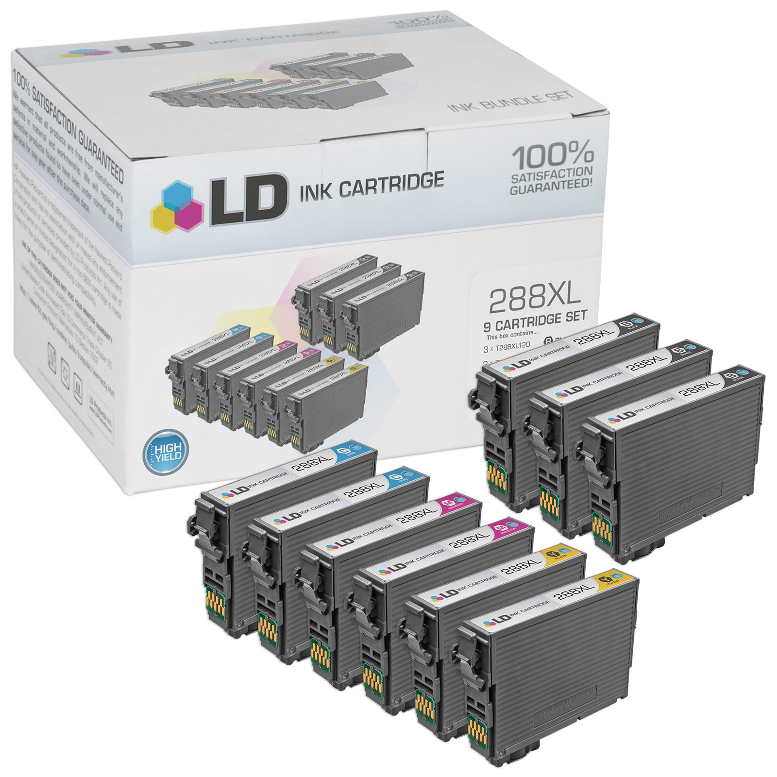 LD Remanufactured Replacements for Epson 288XL Set of 9 High Yield Cartridges: 3 Black, 2 Cyan, 2 Magenta & 2 Yellow for use in Expression XP-330, XP-340, XP-430, XP-434 & XP-446