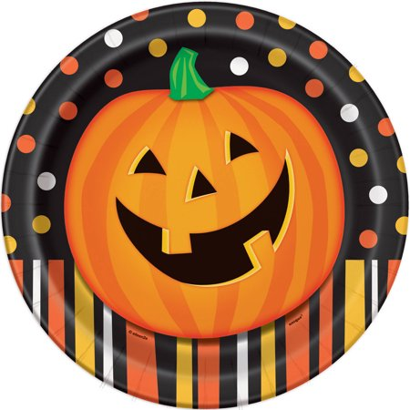 Smiling Pumpkin Halloween Paper Plates, 9 in, 8ct