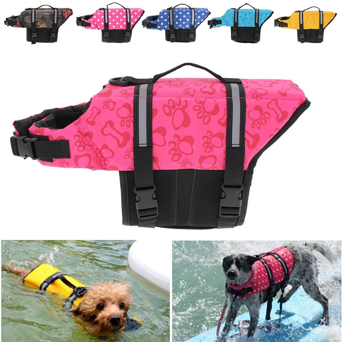 Pet Life Jacket S Pet Aquatic Reflective Preserver Float Vest Dog Cat Saver Life Jacket,Pink Dots color