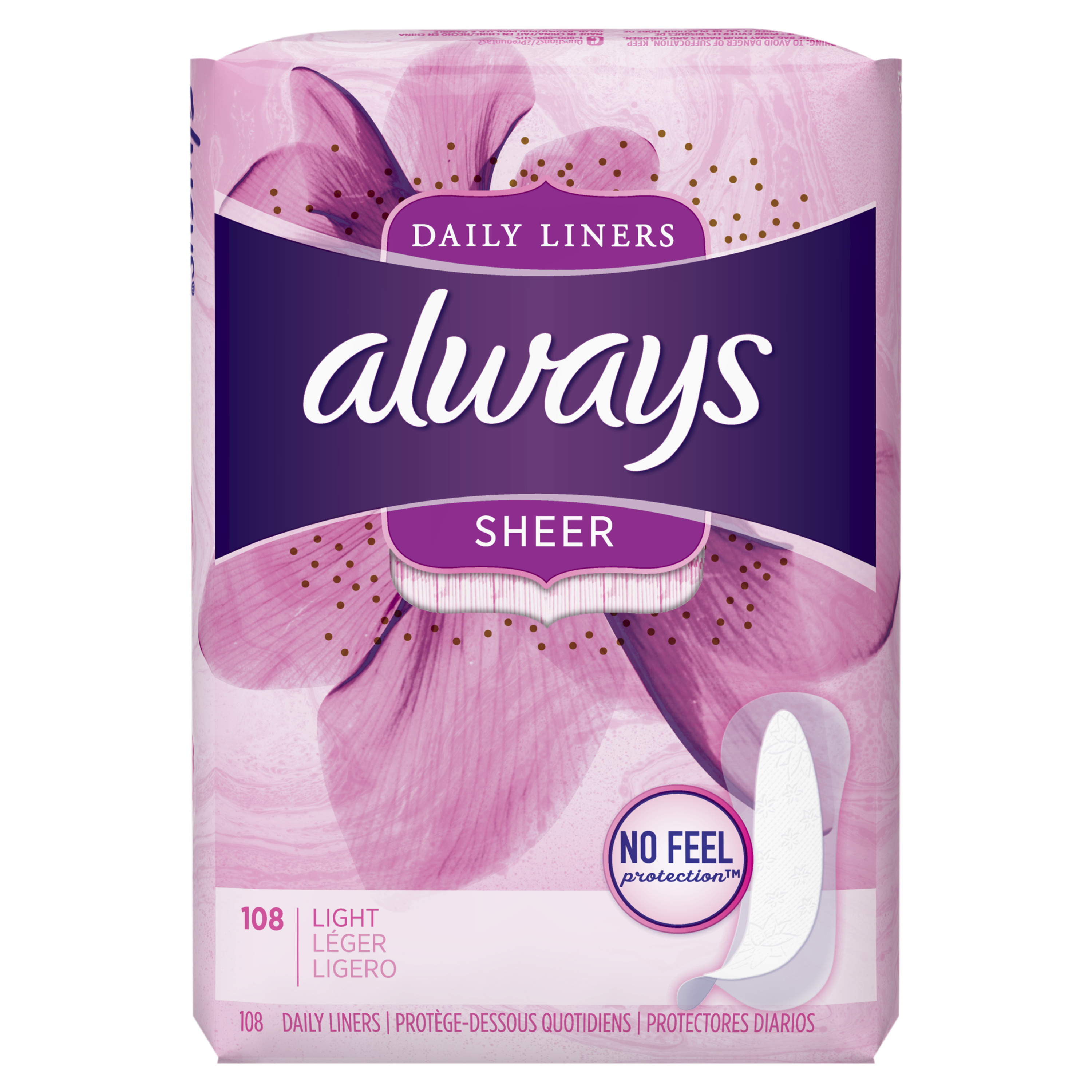 Always Sheer Daily Liners, Unscented, Wrapped, Light, 108 Count