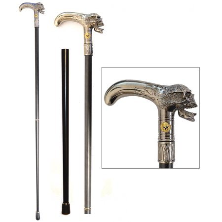 Stately Walking Stick Pewter-Look Metal Flaming Skull Head 2-Piece Cane](Skull Cane)