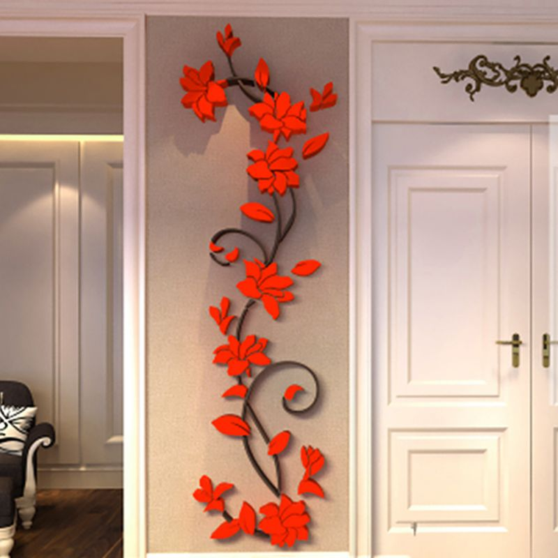 Removable Mirror Style Flowers Decal Art Mural Wall Stickers Decor Silver