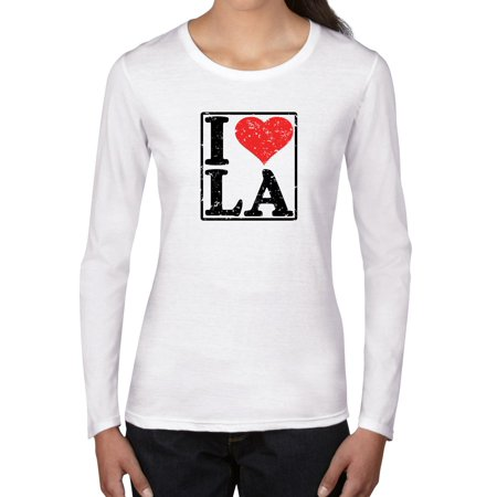 Classic I Love LA With Red Heart Los Angeles Pride Women's Long Sleeve