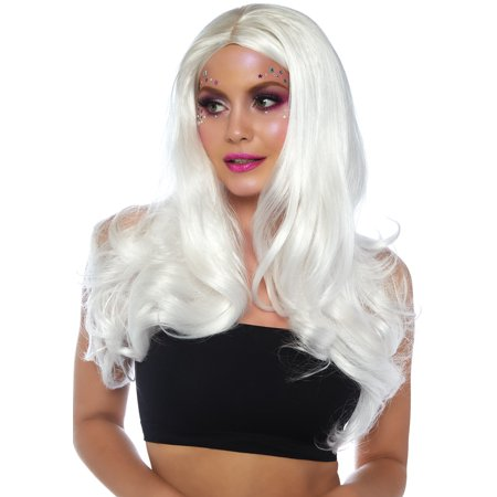 Leg Avenue Women's Fashion Synthetic Costume Cosplay Long Wavy Wig, White, O/S](White Costume Wigs)