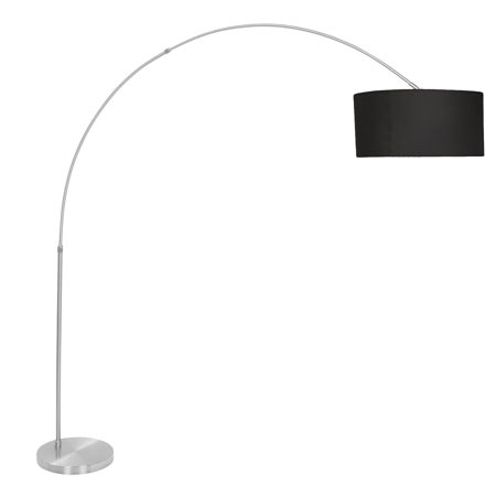 - Salon Contemporary Floor Lamp with Satin Nickel Base and Black Shade by LumiSource