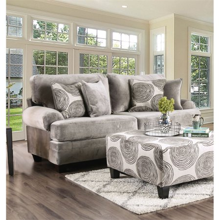 Furniture of America Sheryl Microfiber Sofa in Gray