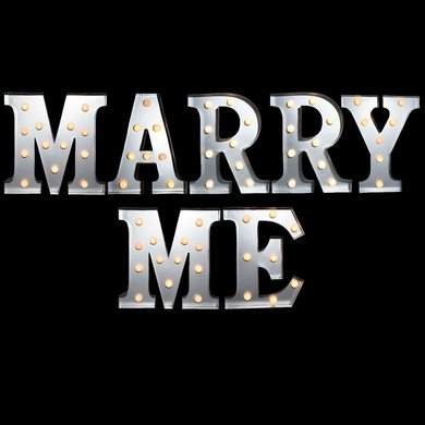 Marquee Light Marry Me Led Metal Sign 10 Inch Battery
