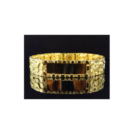 Men's Solid 10K Yellow Gold Nugget Style ID Bracelet 14MM 9