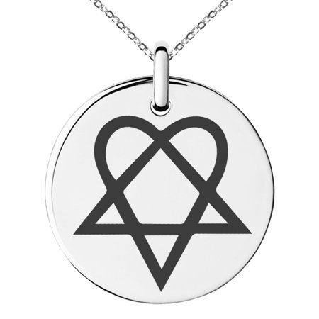 Stainless steel heartagram symbol engraved small medallion circle stainless steel heartagram symbol engraved small medallion circle charm pendant necklace aloadofball Choice Image
