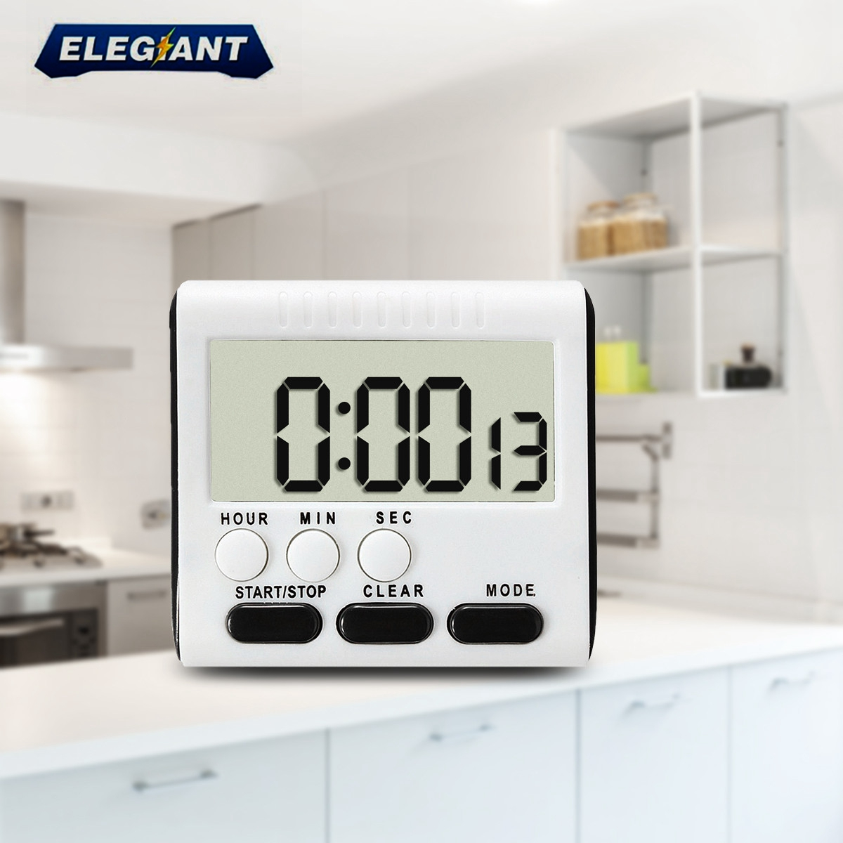 ELEGIANT Magnetic Kitchen Timer Alarm Clock LCD Digital Cooking Count Up Down Clock Blue Orange Black Three Colcr,Blue color