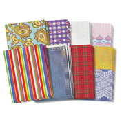 "Roylco Assorted Pattern Fabric Paper Design, 8.5"" x 11"", Assorted Patterns, Pack of 40"