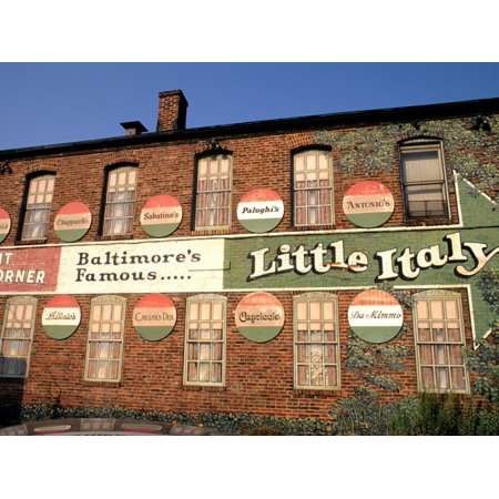 Historic Little Italy Section Signage, Baltimore, Maryland, USA Print Wall Art By Bill