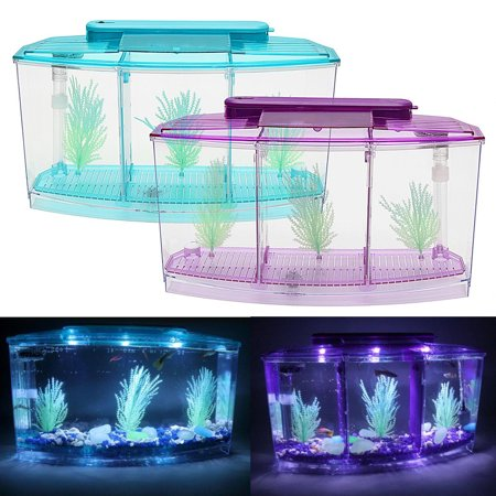 - LED Light Triple Cube Betta Aquarium Box Separate Breeding Spawning Fish Tank