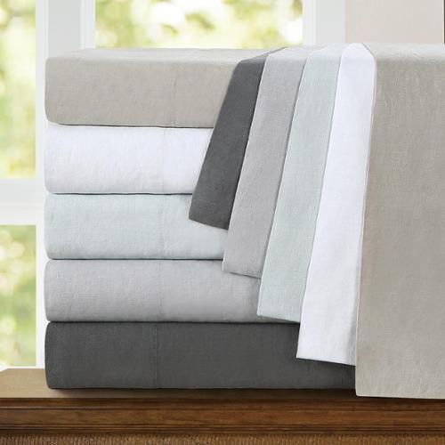 Echelon Home Washed Belgian Linen Sheet Set Cal King Slate Grey