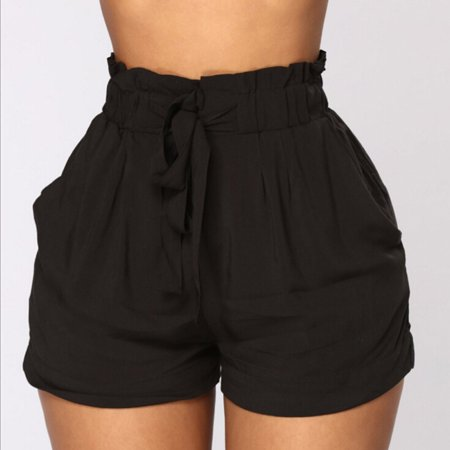 Plus Size Womens hot pants solid high waist shorts fashion bandage belted New Style Sexy Summer Casual Shorts Beach Shorts Black Size S - Hot Plus Size Women Pics