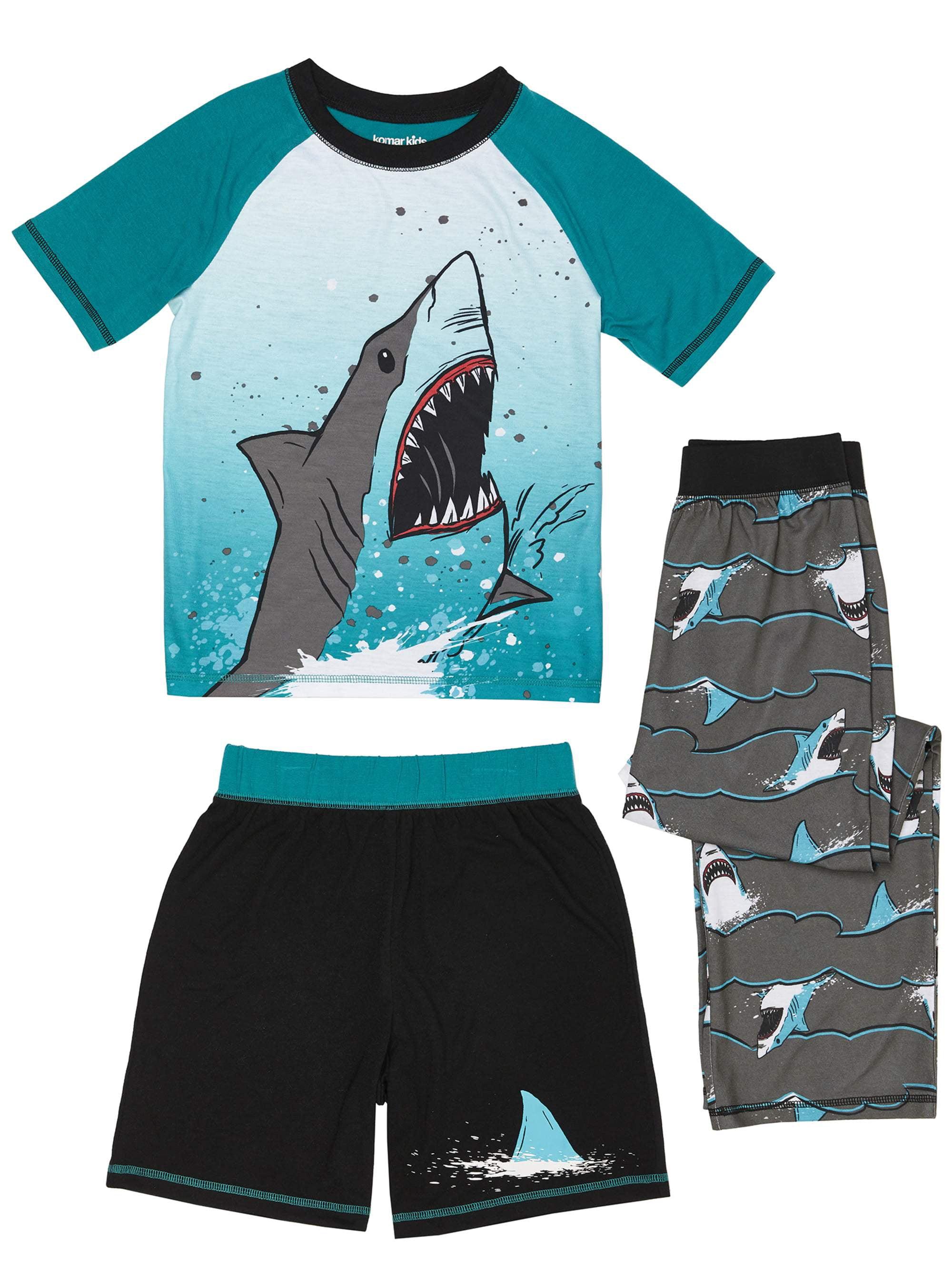 Boys' Shark Splash 3 Piece Pajama Sleep Set (Little Boy & Big Boy)