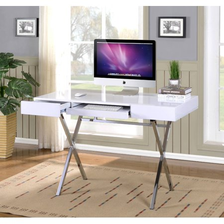 Sarai Home & Office Workstation Computer Desk, White Wood Top & Chrome Metal Base, With 2 Storage Drawers & Pull-Out Keyboard, Contemporary