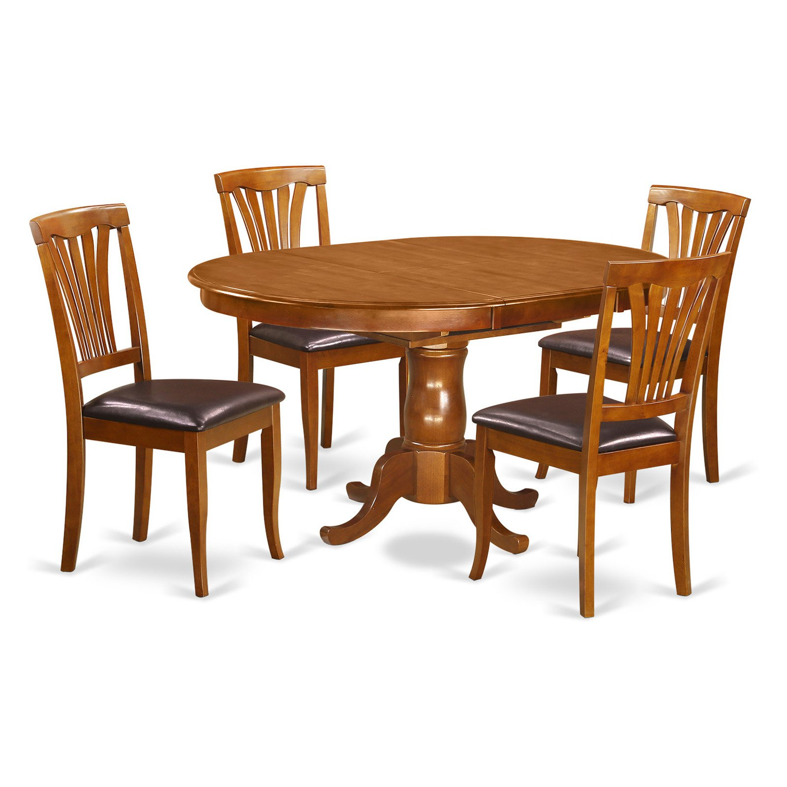 East West Furniture Portland 5 Piece Lath Back Dining Table Set