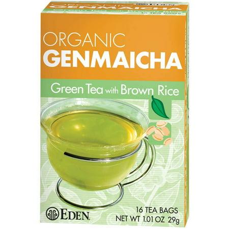 Eden Green Tea Tea (Eden Organic Genmaicha Green Tea with Brown Rice Tea Bags, 16 count, (Pack of)