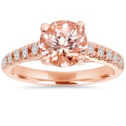 Pompeii3, Inc. Bliss 14k Rose Gold 1/4 ct TDW Morganite and Diamond Trellis Ring (I-J/I2-I3)